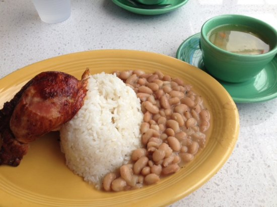 Roasted Dark Meat Chicken Rice Pinto Beans And Aguadito Soup Picture Of Inka Wasi Rolling Hills Tripadvisor