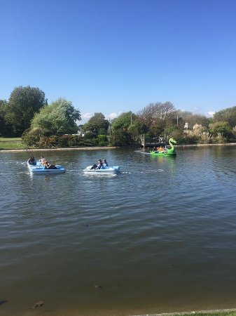 Littlehampton, UK: Fun on the lake with our new dragon pedalos