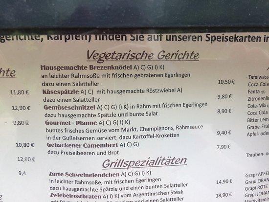 Pleinfeld, Allemagne : Einblick in die Vegetarierangebote