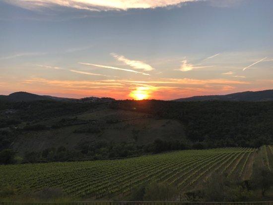 Villa  Vistarenni: sunset with radda in chianti in the background