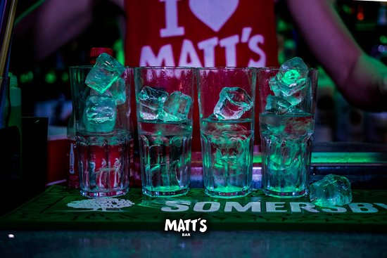 drinks getting ready in Matt's Bar