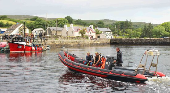 Lauragh, Ирландия: Dive Boat coming into the Harbour at Kilmacillogue pier. Kenmare Bay Diving