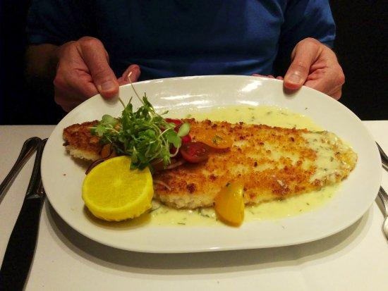 Eddie V's Prime Seafood: Parmesan Sole. Yummy. Huge portion.