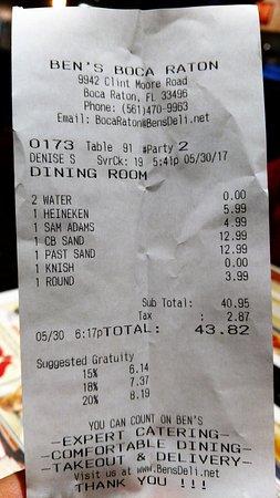 Ben's Kosher Foods and Kosher Catering: Da Bill