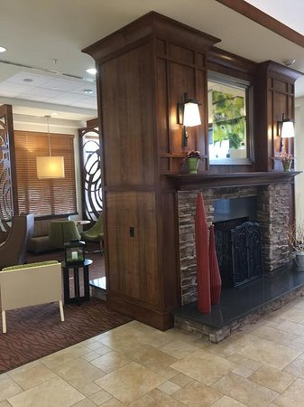 Lobby Entrance Two Way Fireplace Picture Of Hilton Garden Inn