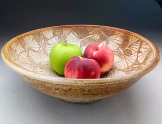 Michele Hastings & Jeff Brown Pottery: Carved Ginkgo Bowl