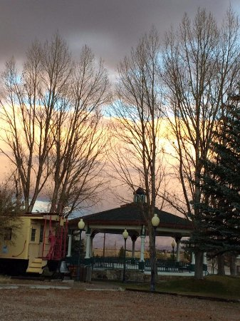 Saratoga, WY: The Pavilion and caboose in winter.