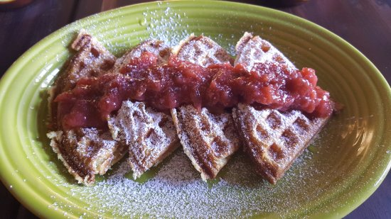 Minturn, CO: Lemon Ricotta waffle with strawberry rhubarb & mint compote