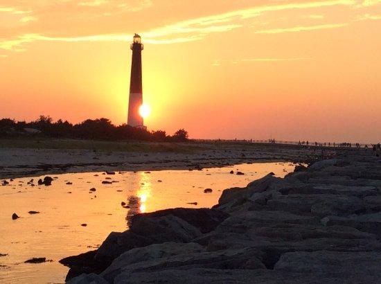 Barnegat Light, NJ: Sunset over  Ol' Barney is just a few steps from Minerva's door!
