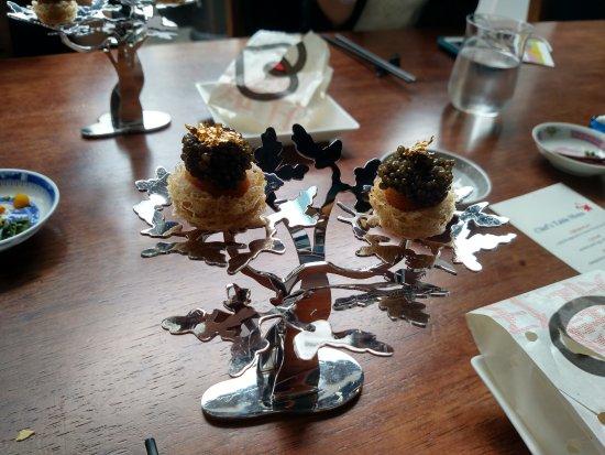 Bo Innovation : Caviar, Smoked Quail Egg, Taro Nest