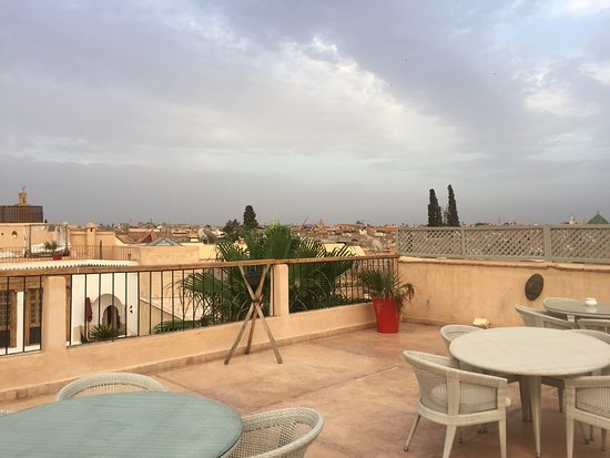 Riad Charai: View of the Medina from the large rooftop terrace
