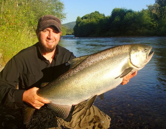 "White City, OR: Jeremy with a Rogue river ""springer"" king salmon."