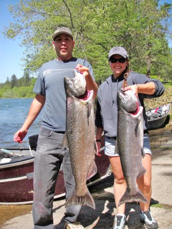 White City, OR: Mario and Whitney with upper Rogue spring salmon.