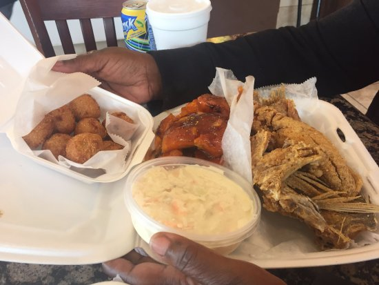 Takoma Park, MD: Fried fish and yams with coleslaw and hush puppies
