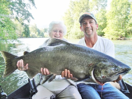 White City, OR: My mom with her biggest catch!  39.5 lb middle Rogue king salmon.