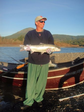 White City, OR: Brad with a southern Oregon coast steelhead.