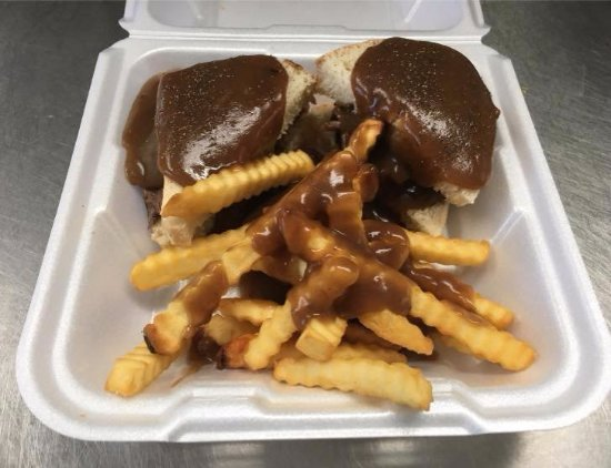 Gwinn, MI: Hot Roast Beef Sandwiches smothered in gravy and fries!