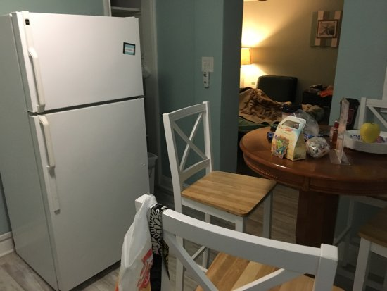 Surrey Beach House: Kitchen, cute decor, urine-stained mattress cover, dirty bedside table