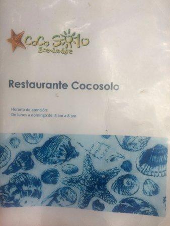 Cocosolo Lodge: Restaurant menu, open every day