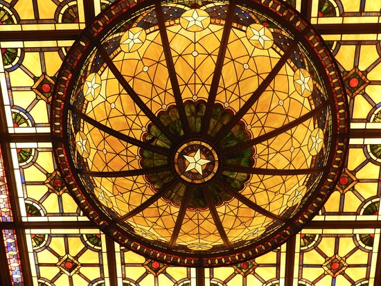 The Driskill: beautiful lobby ceiling chandelier