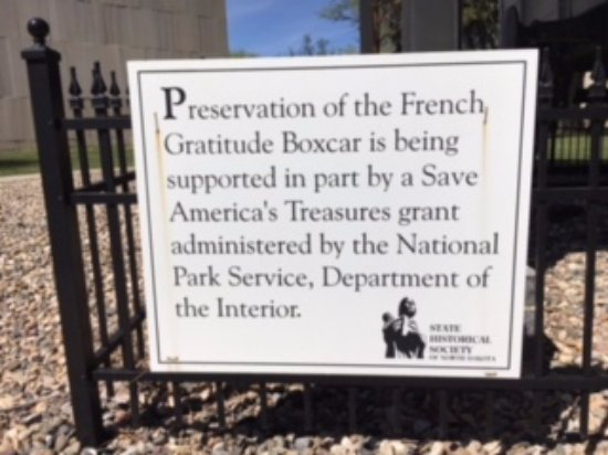 North Dakota State Capitol Building: Info sign French box-car gift