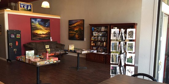 Red Lodge, MT: There's plenty of comfy seating and paintings by local artists.