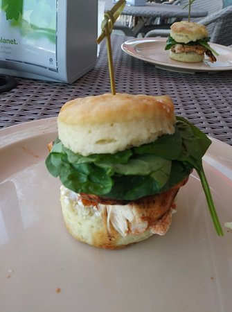 Monroe, NC: buffalo chicken biscuit with ricotta and spinich