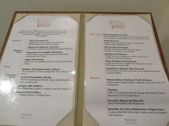 Barcelo Aruba Menu From Italian Restaurant