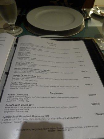 Wine List Extra Fee Picture Of Barcelo Aruba Palm