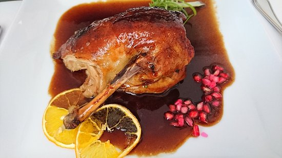 The classic French dish of tender roasted duck, boned & served with an orange glaze
