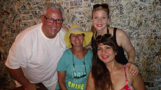 Cabbage Key Inn: The dollar bar! $70,000 of one dollar bills on the walls at any given time.