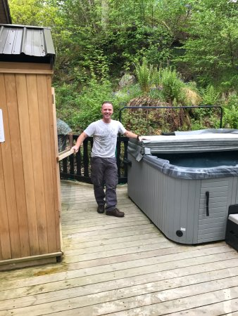 Our own hot tub and sauna when staying at Loch Tay Highland Lodeges