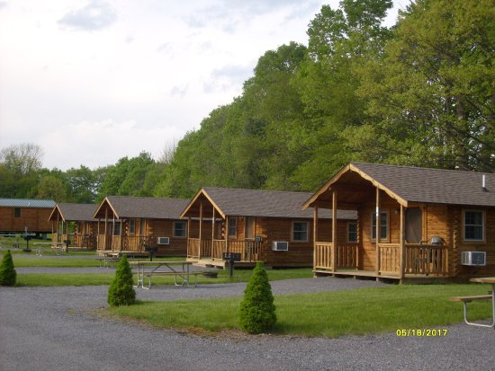 Milford, NY: Hartwick HIghlands Campground - the cabins in open ground