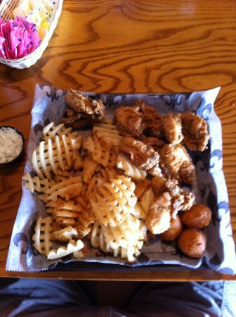 Scott, LA: Oyster basket.  Big meal, and very good.