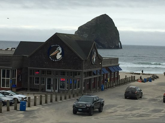 Pelican Pub & Brewery, and Haystack Rock, at Pacific City, OR