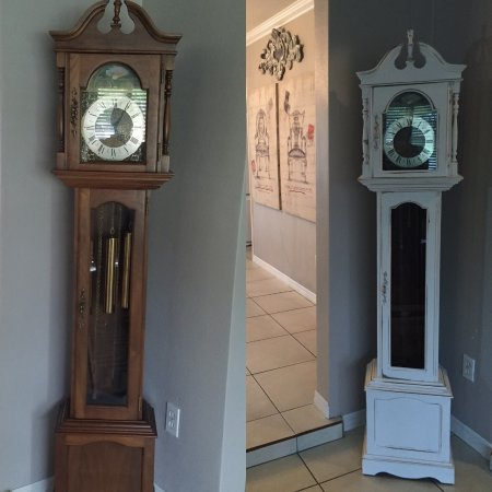 Dania Beach, FL: Clock- Before and after transformation to fit customers decor