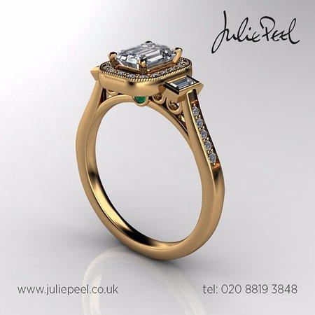 Farnham, UK: Bespoke engagement ring 18ct gold and diamonds