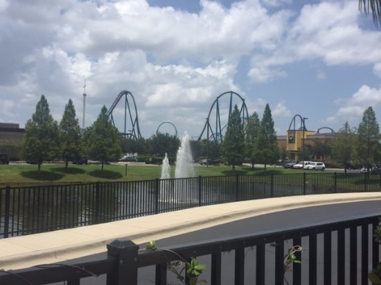 SpringHill Suites Orlando at SeaWorldR: View of Seaworld from the pool area
