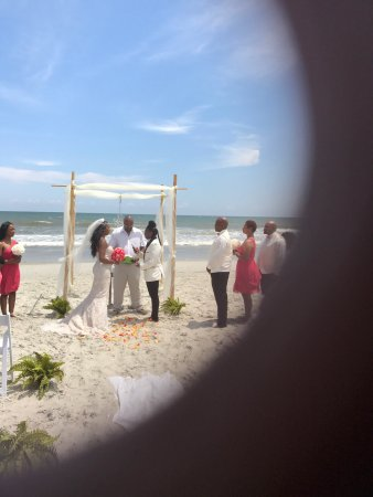 we had a beautiful ceremony on the beach . a great reception at