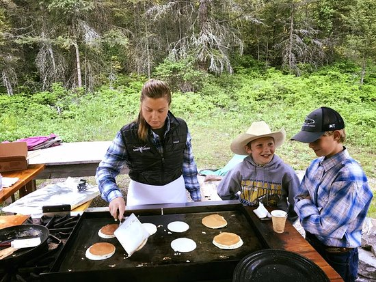 Bigfork, MT: The kids enjoyed a pancake breakfast after a morning trail ride