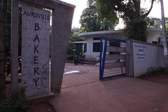 Auroville bakery entrance