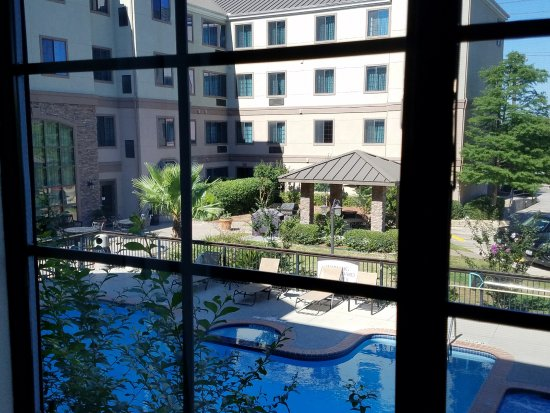 Staybridge Suites San Antonio NW near Six Flags Fiesta Texas: Odd numbered rooms have a view of the pool and courtyard area.