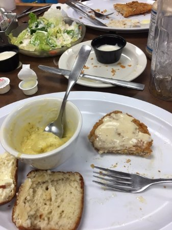 Oak Grove, MO: Really good broccoli cheese soup and what's left of my Tenderloin
