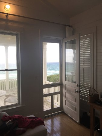 Beachfront Cottage #4: View out the back porch door