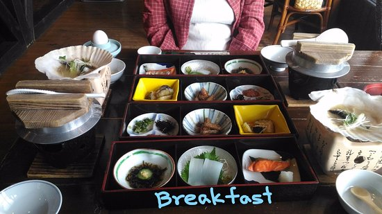 Suigunnoyado: Breakfast. also there are garden salads, miso soup, fruits, grated yam potatos.