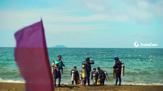 Dauin, Philippines: Getting ready for beach entry diving.