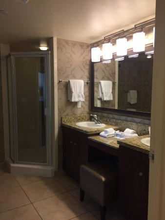 Bathroom Sinks Las Vegas bathroom with 2 sinks and large shower - picture of the grandview