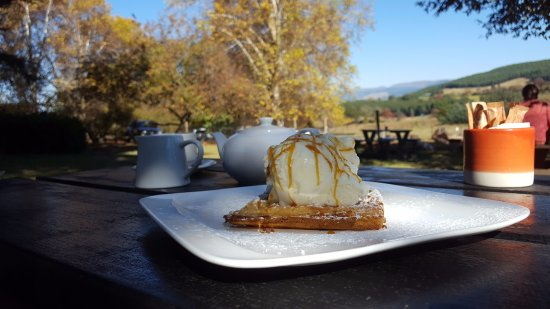 Lidgetton, South Africa: Our plain ice cream waffle dessert was a real treat!