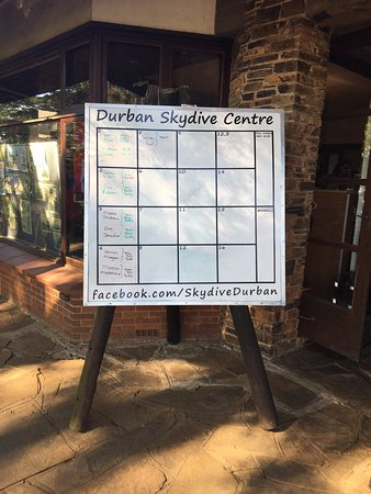 Durban Skydive Centre: Board with the details of the jump.