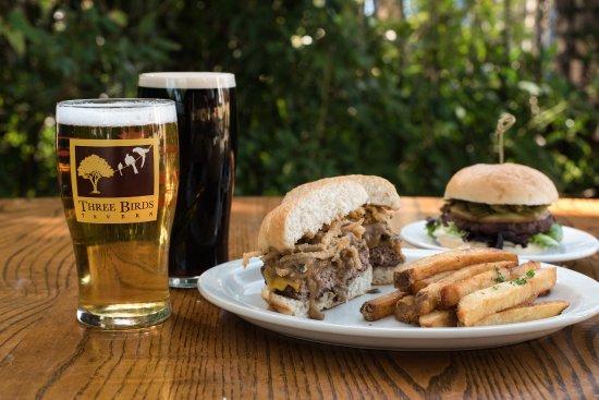Three Birds Tavern: Guinness Gravy & Mushroom Burger with Tobacco Onion & Fresh Cut Fries.